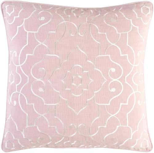 """18"""" Powder Pink and White Woven Decorative Throw Pillow - Poly-Filled - IMAGE 1"""