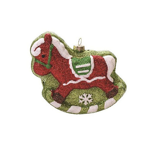 """4.75"""" Green and Red Shatterproof Glitter Rocking Horse Christmas Ornament - IMAGE 1"""