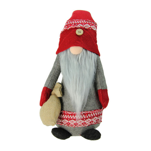 """25"""" Red and Gray Nordic Santa Christmas Gnome with Burlap Sack Tabletop Figure - IMAGE 1"""