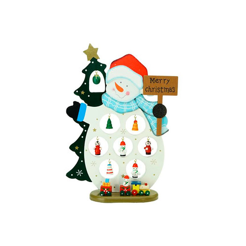 "10.25"" White and Blue Snowman Merry Christmas Cut-Out Tabletop Decor - IMAGE 1"
