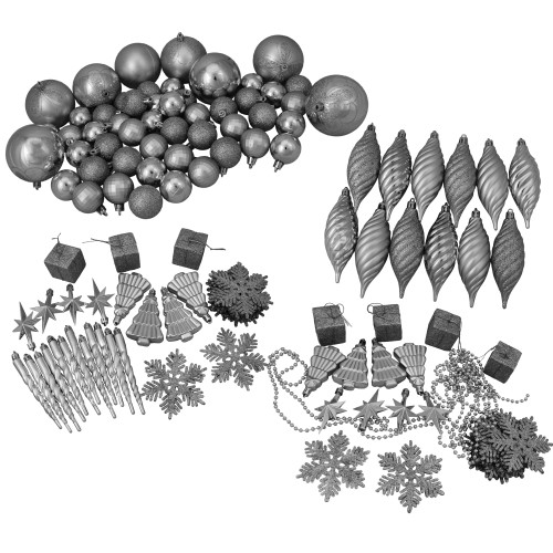 "125ct Splendor Silver Shatterproof 4-Finish Christmas Ornaments 5.5"" (140mm) - IMAGE 1"