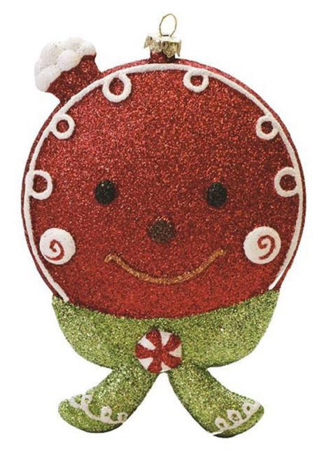 """5.5"""" Red and Green Glittered Shatterproof Gingerbread Head Christmas Ornament - IMAGE 1"""