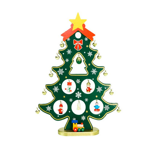 "11.25"" Red and Green Christmas Tree Cut-Out with Miniature Ornaments Tabletop Decoration - IMAGE 1"