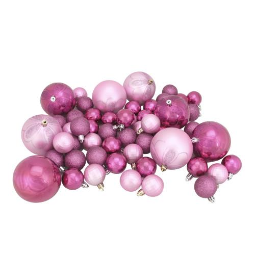 "125ct Bubblegum Pink Shatterproof 4-Finish Christmas Ornaments 5.5"" (140mm) - IMAGE 1"