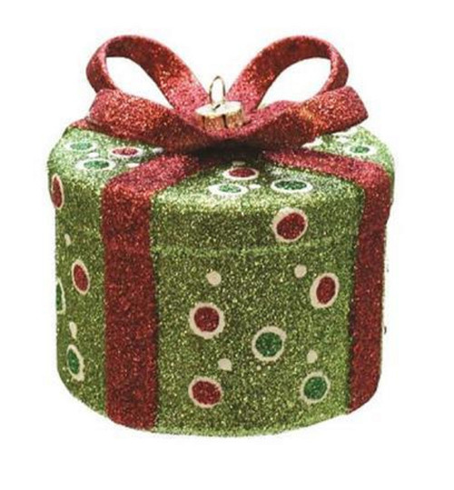 """3.25"""" Green and Red Glitter Polka-Dot Round Gift Box Christmas Ornament - IMAGE 1"""