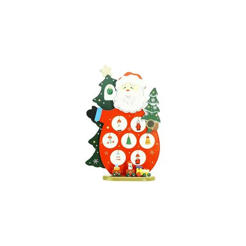 "10.25"" Red and Green Santa Claus Cut-Out with Miniature Ornaments Christmas Table Top Decoration - IMAGE 1"