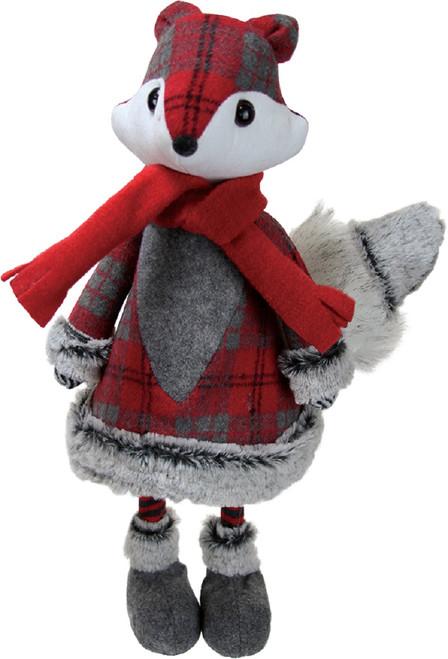 """18"""" Red and Gray Plaid Girl Fox Christmas Figurine - IMAGE 1"""