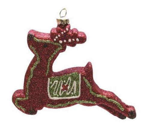 "Glittered Red Shatterproof Christmas Reindeer Ornament 4.75"" - IMAGE 1"