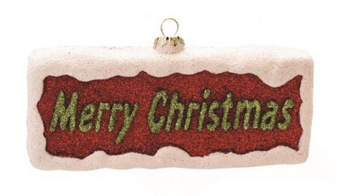 """5.5"""" Red and Green Glittered 'Merry Christmas' Shatterproof Ornament - IMAGE 1"""