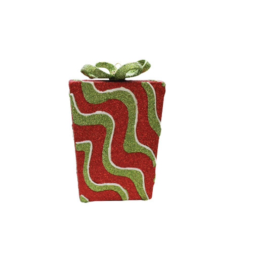 "6"" Red and Green Glitter Swirl Shatterproof Gift Box Christmas Ornament - IMAGE 1"