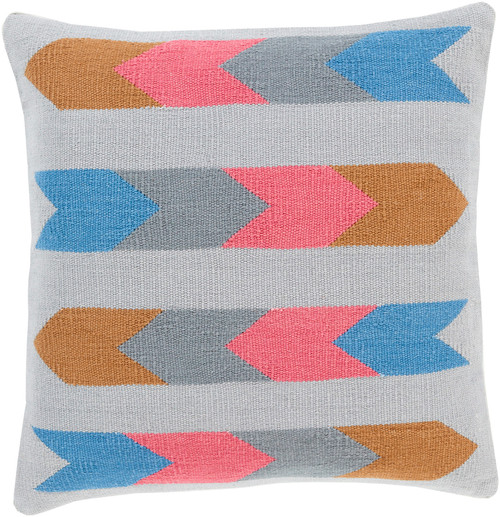 """22"""" Ash Gray and Pink Southwestern Design Woven Throw Pillow - IMAGE 1"""