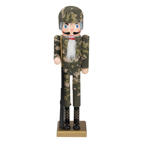 """15"""" Beige and Green Army Soldier in Fatigues Christmas Nutcracker - IMAGE 1"""
