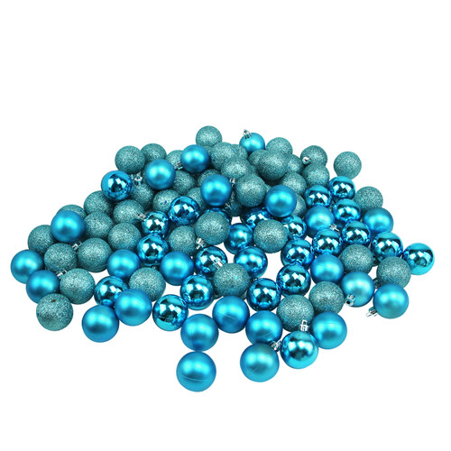 "96ct Turquoise Blue Shatterproof 4-Finish Christmas Ball Ornaments 1.5"" (40mm) - IMAGE 1"