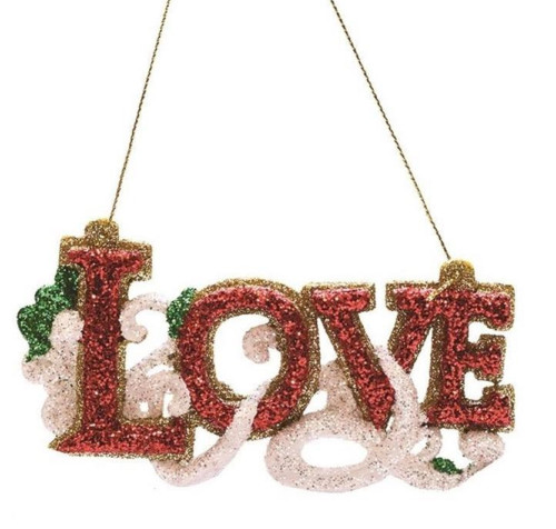 """4.75"""" Merry & Bright Red, White and Green Glitter """"Love"""" Inspirational Christmas Ornament - IMAGE 1"""