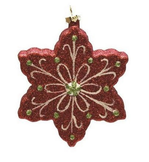 "4.25"" Red and Green Shatterproof Glitter Snowflake Christmas Ornament - IMAGE 1"