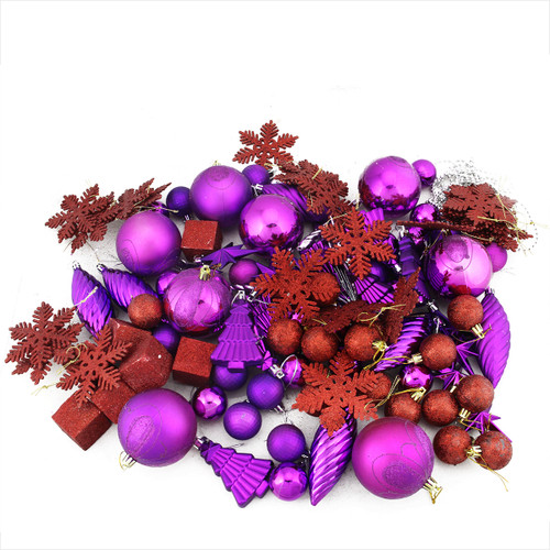 """125ct Purple and Red Shatterproof 3-Finish Christmas Ornaments 5.5"""" (139.7mm) - IMAGE 1"""