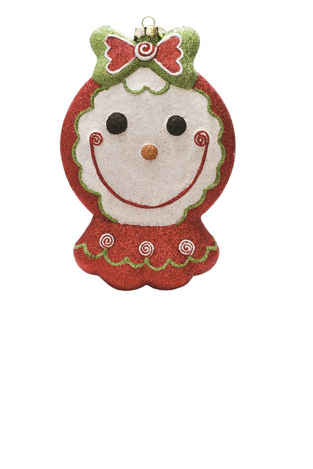 """8.5"""" Red and Green Glittered Shatterproof Gingerbread Girl Christmas Ornament - IMAGE 1"""
