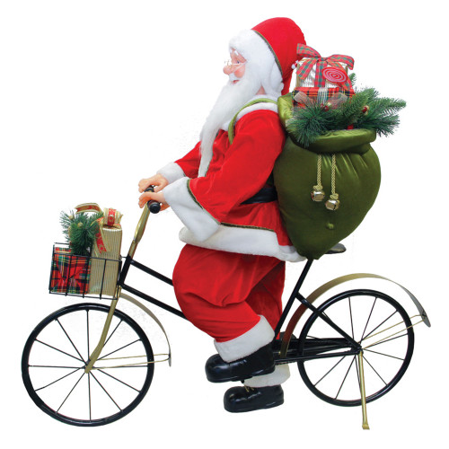 """42"""" Traditional Santa Claus Riding a Bicycle Commercial Christmas Decoration - IMAGE 1"""