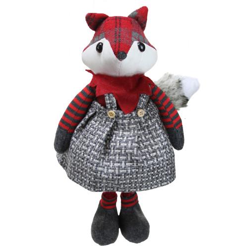 "16.5"" Charming Plaid Country Girl Fox Decorative Christmas Tabletop Figure - IMAGE 1"