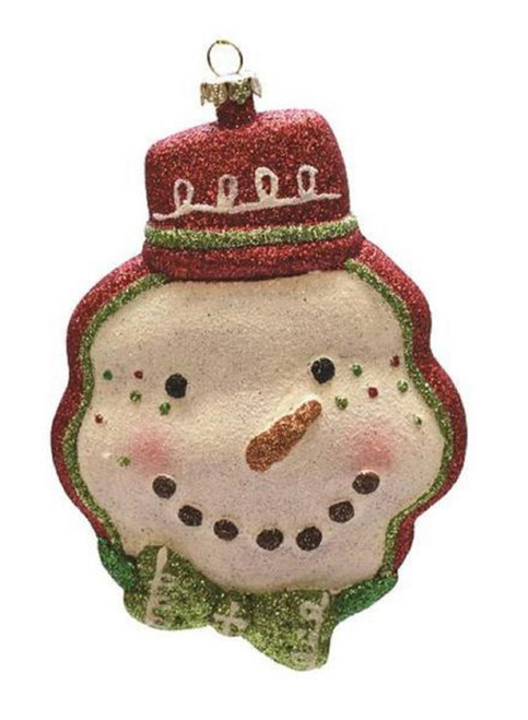 "5.75"" Red and Green Shatterproof Snowman Head with Hat Christmas Ornament - IMAGE 1"