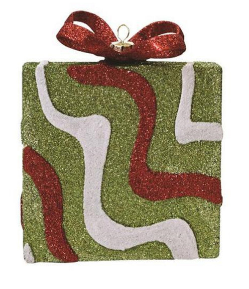 "5"" Red and Green Glitter Swirl Shatterproof Gift Box Christmas Ornament - IMAGE 1"