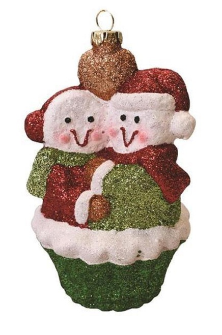 "5"" Green and Red Shatterproof Snowman Couple Cupcake Christmas Ornament - IMAGE 1"