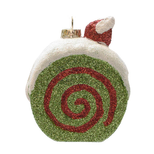 "3.25"" Green, Red, and Beige Glittered Shatterproof Cake Slice Christmas Ornament - IMAGE 1"