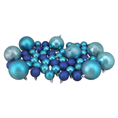 "125ct Peacock Blue Shatterproof 4-Finish Christmas Ornaments 5.5"" (140mm) - IMAGE 1"