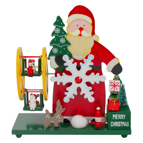 "9.5"" Red and Green Santa Claus Wonderland Christmas Musical Tabletop Decor - IMAGE 1"