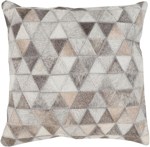 """22"""" Gray and Brown Geometric Square Throw Pillow - Down Filler - IMAGE 1"""