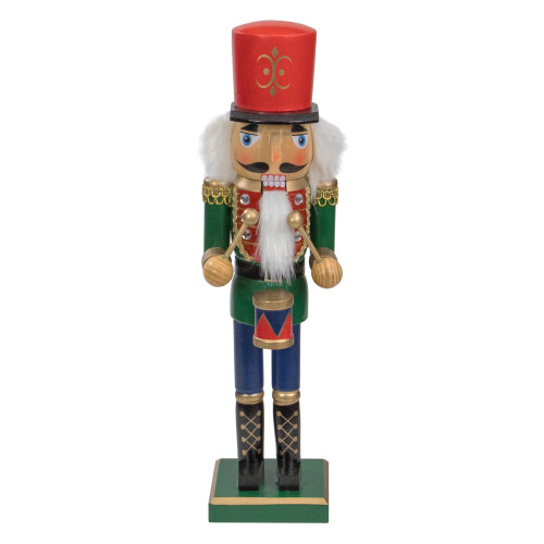"""14"""" Green and Red Traditional Standing Drummer Christmas Nutcracker - IMAGE 1"""