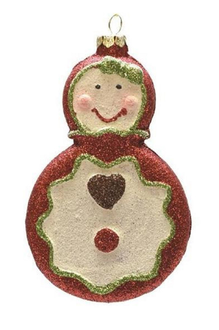 """4.5"""" Red and Beige Glittered Shatterproof Gingerbread Girl Christmas Ornament - IMAGE 1"""