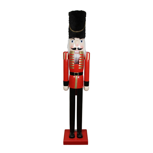 5' Commercial Size Wooden Red and Black Christmas Nutcracker Soldier - IMAGE 1