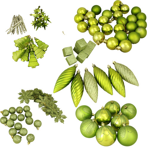 """125ct Green Shatterproof 3-Finish Tropical Christmas Ornaments 5.5"""" (140mm) - IMAGE 1"""