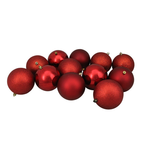 """12ct Red Shatterproof 4-Finish Christmas Ball Ornaments 4"""" (100mm) - IMAGE 1"""