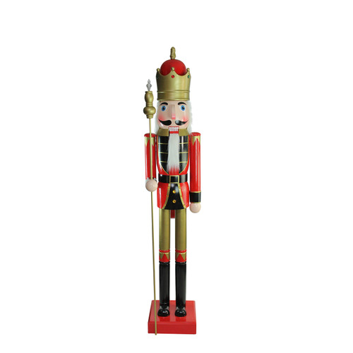 6' Giant Commercial Size Wooden Red, Black and Gold Christmas Nutcracker King with Scepter - IMAGE 1