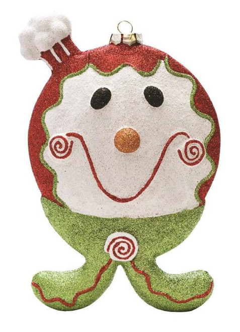 """9"""" Red and Green Glittered Shatterproof Gingerbread Boy Christmas Ornament - IMAGE 1"""