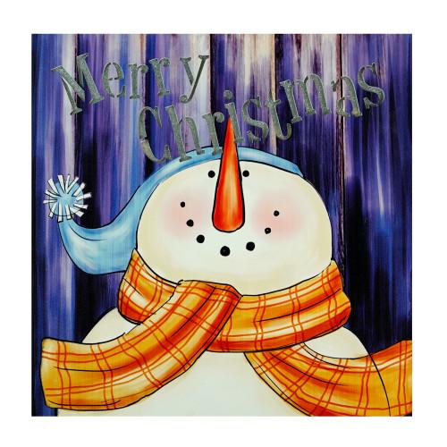 "LED Lighted ""Merry Christmas"" Snowman Christmas Canvas Wall Art 11.75"" x 11.75"" - IMAGE 1"