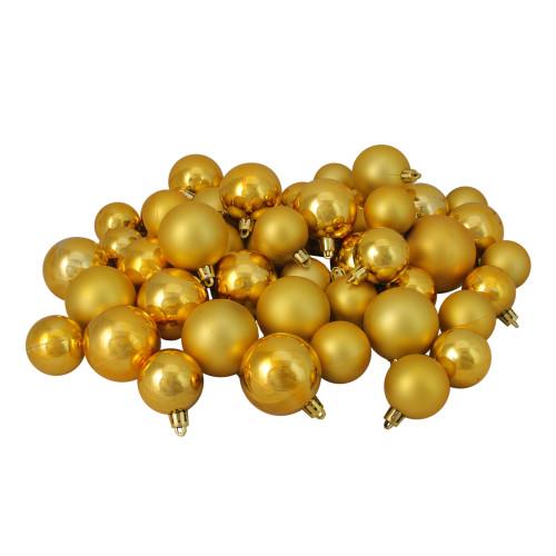 "50ct Gold Shatterproof 2-Finish Christmas Ball Ornaments 2"" (50mm) - IMAGE 1"