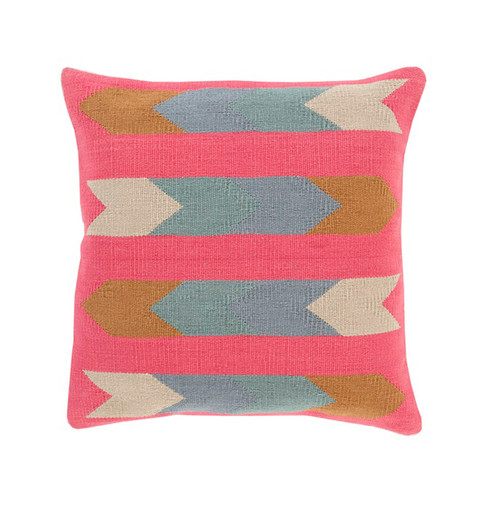 """22"""" Pink and Gray Contemporary Woven Square Throw Pillow - Down Filler - IMAGE 1"""