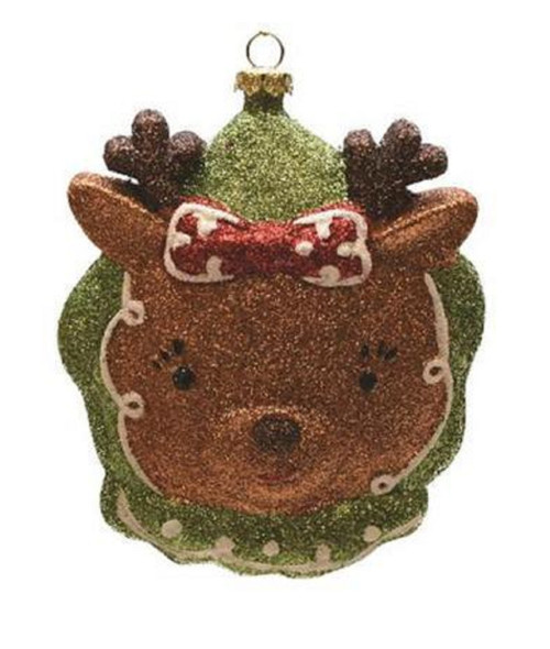 """4.5"""" Brown and Green Glittered Shatterproof Reindeer Head Christmas Ornament - IMAGE 1"""