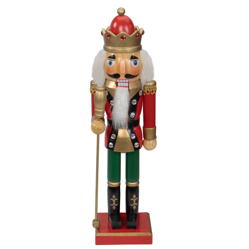 """14"""" Red and Gold Wooden Christmas Nutcracker King with Scepter - IMAGE 1"""