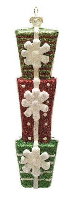 "6.5"" Green and Red Glitter Shatterproof Stacked Gift Box Christmas Ornament - IMAGE 1"