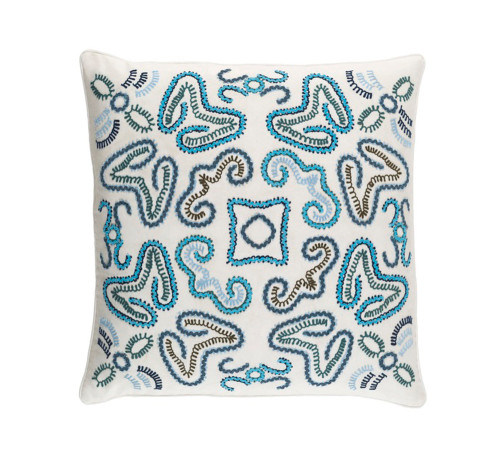 """20"""" Eggshell White and Cerulean Blue Woven Decorative Throw - IMAGE 1"""