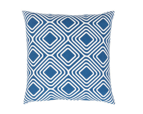 "22"" Blue and White Throw Pillow - Down Filler - IMAGE 1"
