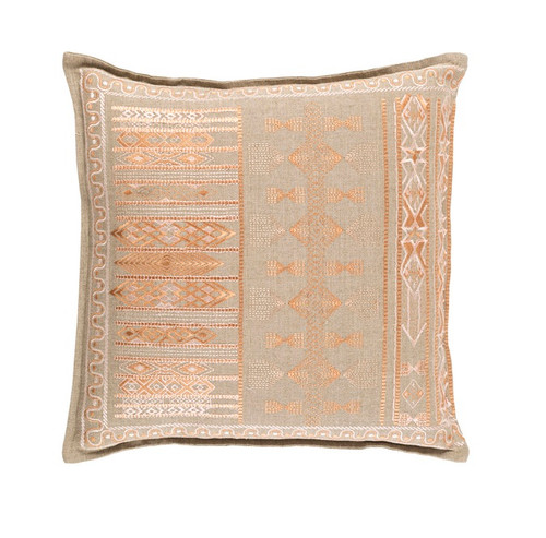 """22"""" Orange and Beige Woven Contemporary Square Throw Pillow - Down Filler - IMAGE 1"""