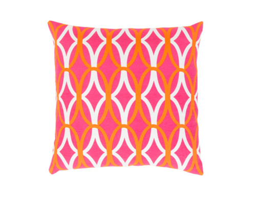 "22"" Orange and Pink Woven Square Throw Pillow - IMAGE 1"