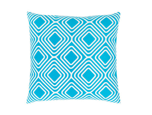 """22"""" Sky Blue and White Woven Square Throw Pillow - IMAGE 1"""
