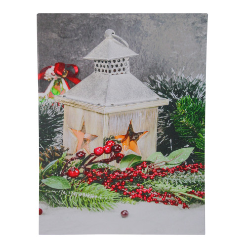 "LED Lighted Christmas Candle Lantern with Berries and Greenery Canvas Wall Art 15.75"" x 11.75"" - IMAGE 1"