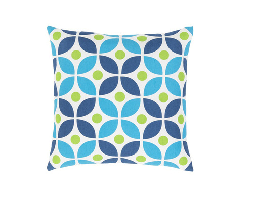 "22"" White and Blue Throw Pillow - Down Filler - IMAGE 1"